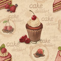 Vintage pattern with cake illustrations seamless Royalty Free Stock Image