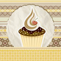 Vintage pattern with cupcake Stock Photo