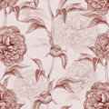 Vintage pattern with peony drawings seamless Stock Image