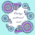 Vintage patterned background frame with paisley