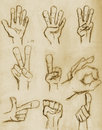 Vintage Pencil Drawn Hands Royalty Free Stock Photography