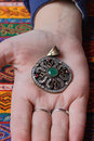 Vintage pendant in hand Royalty Free Stock Photo