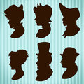 Vintage people silhouettes hats and hair style Royalty Free Stock Photo