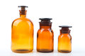 Vintage pharmacy bottles on white background Royalty Free Stock Photo