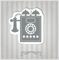 Vintage phone the on a gray background Stock Photography