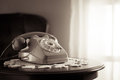 Vintage phone in the living room Royalty Free Stock Photo