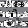 Vintage photo cameras seamless pattern film Royalty Free Stock Photo