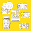 Vintage photo cameras set  with floral pattern. Stock Photo