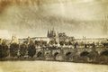 Vintage photo of charles bridge in old prague czech republic Royalty Free Stock Image