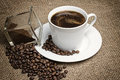 Vintage photo of the cup of coffee. Higher angle view Royalty Free Stock Photo
