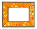 Vintage photo frame orange flower ceramic fhoto nostalgia feeling Royalty Free Stock Photo