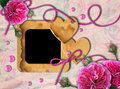 Vintage photo frame, pink roses and heart Royalty Free Stock Images