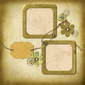 Vintage photo frames and flowers Stock Photography