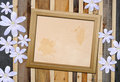 Vintage photo frames over wood Stock Photo