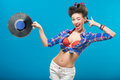 The vintage photo of girl holding vinyl record sexy Royalty Free Stock Photo