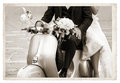 Vintage photo with newlywed Royalty Free Stock Photo