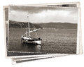 Vintage photo Old wooden sail ship Royalty Free Stock Photo
