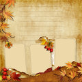 Vintage photoframes with autumn leaves Royalty Free Stock Photos