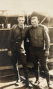 Vintage photograph wwi army soldiers two american yanks from world war one pose together in camp the are in their uniforms in this Royalty Free Stock Photography