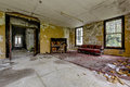 Vintage Piano and Couch - Abandoned Hospital / Sanitarium - New York Royalty Free Stock Photo