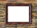 Vintage picture frame on bamboo wall Stock Photography