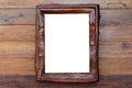 Vintage picture frame, wood plated, white background, clipping p Royalty Free Stock Photo