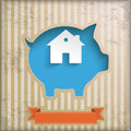 Vintage piggy bank house piad background design with brown colors eps file Stock Photo