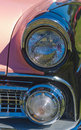 Vintage pink american car headlights closeup of a classic Royalty Free Stock Images
