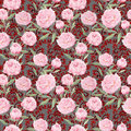 Vintage pink peony flowers. Repeating floral background, ornamental decor. Watercolor