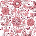 Vintage pink seamless pattern with hearts and butterflies. Elegant backdrop for fabric, textile, wrapping paper, card