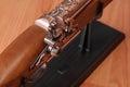 Vintage pistols on wooden background Royalty Free Stock Photo