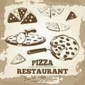 Vintage pizza elements for cafe, restaurant, bar or delivery
