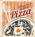 Vintage pizza poster on old paper texture sign background template or box design retro pizzeria grunge food illustration Royalty Free Stock Image
