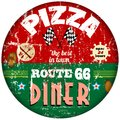 Vintage pizza sign route diner retro vector eps Royalty Free Stock Photo