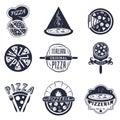 Vintage pizzeria labels, logos and emblems vector