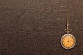 Vintage pocket watch photo of silver with chain on wooden background Royalty Free Stock Images