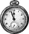 Vintage pocket watch vector drawing of the old Royalty Free Stock Photos