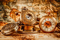 Vintage pocket watch Vintage Antique . Royalty Free Stock Photo