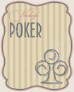 Vintage poker card clubs vector illustration Royalty Free Stock Images