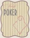 Vintage poker card diamonds vector illustration Royalty Free Stock Image