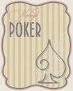 Vintage poker card spades vector illustration Stock Photography