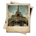 Vintage polaroid eiffel tower instant photo on white background Royalty Free Stock Photos