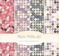 Vintage polka dot seamless patterns, set of four. Royalty Free Stock Photo