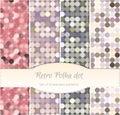 Vintage polka dot seamless patterns, set of four. Royalty Free Stock Photo