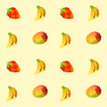 Vintage polygon banana mango strawberry pattern Royalty Free Stock Photo