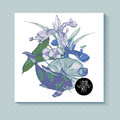 Vintage pond watery flowers vector greeting card Royalty Free Stock Photo