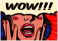 Vintage pop art comic book surprised and excited woman saying wow with open mouth vector illustration