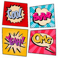 Vintage Pop Art Comic Speech Bubble Set with Expressions Royalty Free Stock Photo