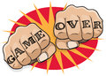 Vintage Pop Art Game Over Punching Fists. Royalty Free Stock Photo
