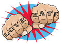 Vintage Pop Art Love and Hate Punching Fists. Royalty Free Stock Photo